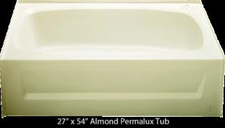 Bathtub 27 x 54 Almond Permalux Tub Left Hand Drain