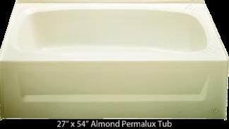 Bathtub 27 x 54 Almond Permalux Tub Right Hand Drain
