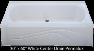 "Bathtub 30"" x 60"" White Permalux Center Drain Tub"