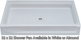 "Better Bath 32"" x 32"" White ABS Shower Pan"