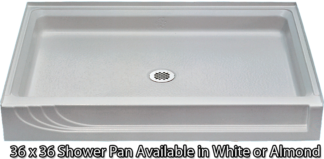 "Better Bath White Shower Pan 36"" x 36"""