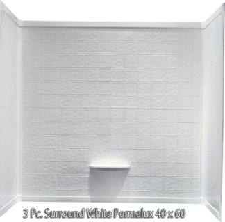 3 Piece Surround White Permalux Tile Finish for 40x60 Garden Tub