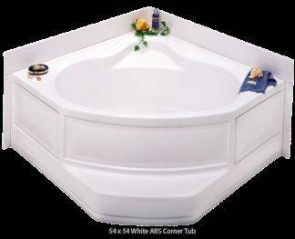 """Better Bath White ABS Corner Tub Right Hand Drain 54"""" x 54"""""""