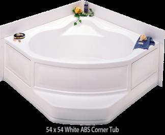 "Better Bath White ABS Corner Tub Center Drain 54"" x 54"""