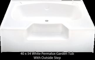 "Better Bath White Permalux Garden Tub W/Outside Step 40"" x 54"""