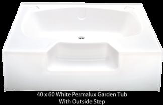 "Better Bath White Permalux Garden Tub Outside Step 40"" x 60"""