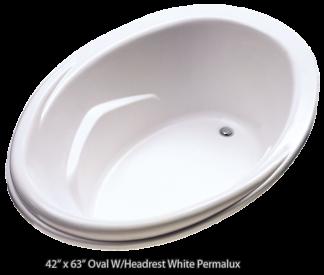 "Better Bath Oval Island Tub White Permalux Head Rest 44"" x 62"""