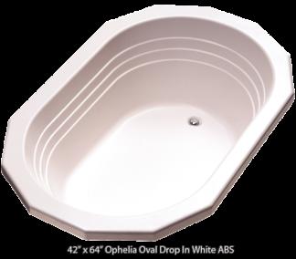 "Better Bath White Ophelia Oval Drop in Island Tub 42""x 64"""