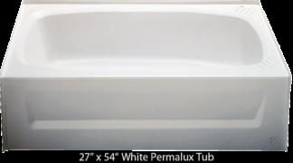 Bathtub 27 x 54 White Permalux  Tub Right Hand Drain