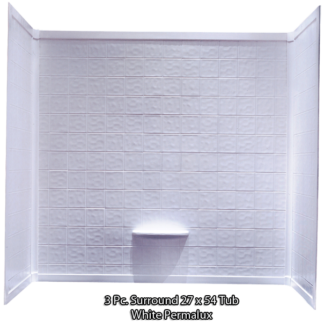 "Better Bath 3-piece  White Permalux Tub Surround Tile 27""x54"""