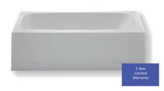 Fiberglass Bathtub 27 x 54 Right Hand Drain White Finish